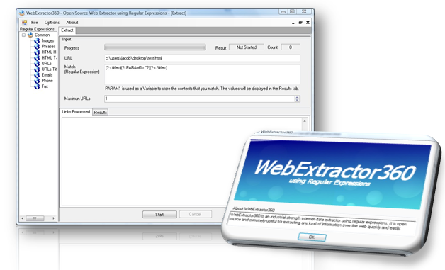 Web extractor using regular expressions.